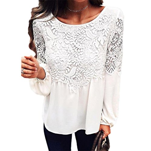 ntialy Women Ladies Tops Fashion Long Sleeve T Shirt Lace Plain Blouse (Long Sleeve Polar Fleece Top)