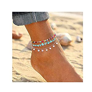 Anklets For Women Girls Color Beads Turquoise Drop Sequin Charm Adjustable Ankle Bracelets Set Boho Multilayer Beach…