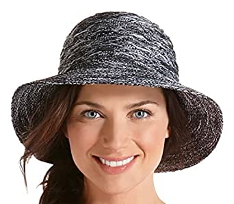 Coolibar UPF 50+ Women's Packable Beach Bucket Hat - Sun Protection (One Size - Charcoal Space Dye)