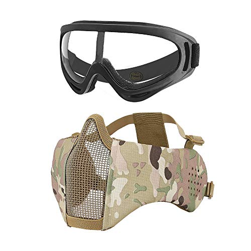 MGFLASHFORCE Airsoft Mask with Ear Protection and Goggles Set | Steel Mesh Half Face Tactical Mask and UV400 Goggles for Halloween Cosplay Xmas Party]()
