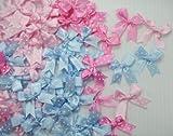 Polka Dot Satin Ribbon Bows for Perfect Diy- Applique, Scrapbook, Card Trims Craft- 7 Mm. 40 Pcs.