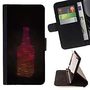 BullDog Case - FOR/HTC One M9 / - / tipsy sunlight drunk alcohol part bottle /- Monedero de cuero de la PU Llevar cubierta de la caja con el ID Credit Card Slots Flip funda de cuer