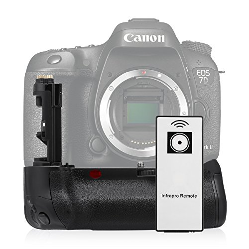 Powerextra BG-E16 Battery Grip Replacement for Canon EOS 7D Mark II Digital SLR Camera with Infrared Remote Control Work with 2 pcs LP-E6/LP-E6N Batteries or 6 pcs AA-size Batteries by Powerextra