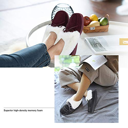 FANTURE Women's House Slippers Moccasins Slip On Micro Suede Faux Fur Lined Indoor & Outdoor