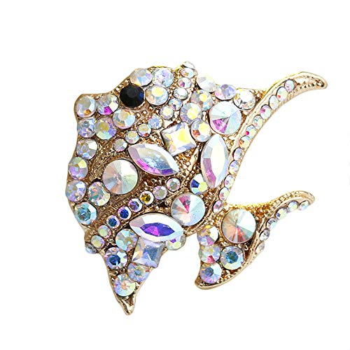 Hosaire. 1X Fashion Brooches Personality Diamond Fish Bridal Brooch Pin Rhinestone Covered Scarves Shawl Clip for Women Ladies Girls