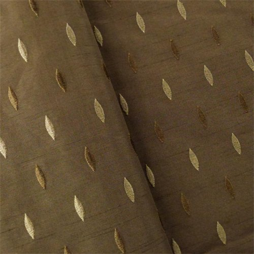 Chocolate Brown Marquise Embroidered Shantung Drapery Fabric, Fabric by The Yard