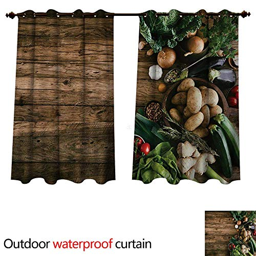 WilliamsDecor Harvest 0utdoor Curtains for Patio Waterproof Various Vegetables on Rustic Wooden Table Onions Potatoes Zucchini Cherry Tomatoes W96 x L72(245cm x 183cm)