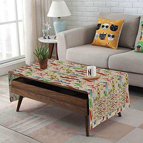 Linen Blend Tablecloth,Side pocket design,Rectangular Coffee