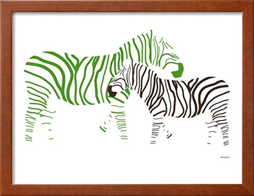 Avalisa Green - OKSLO Green Zebra Framed Art Print Wall Art By Avalisa