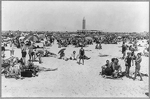 Photo: Jones Beach State Park,New York,NY,1931,Swimsuits,Large Umbrellas,Bathers - Jones Beach State Park