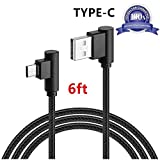 USB Type C Cable, AOKER [6ft/2m] Right Angle 90 Degree Nylon Braided USB Type A to C Fast Charger for Galaxy S8, S8 Plus, ZTE Zmax Pro Z981, Google Pixel/Pixel XL, Nexus 6p, LG G6 (6ft Black)