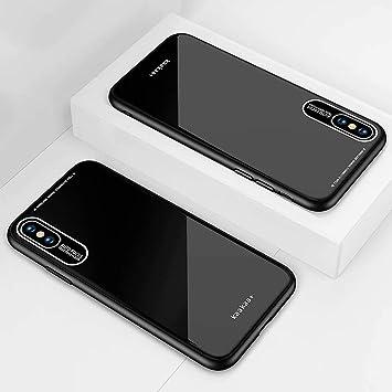 DYGG Compatible con Funda para Apple iPhone X/iPhone XS, Estuche Carcasa Forro Ultra Delgada TPU Parachoques, Trasera de Vidrio Templado - Negro