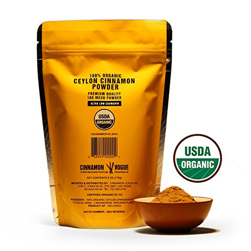 Ceylon Cinnamon Powder – 6 oz. (100% USDA Organic) - Ultra Premium Fine 100 Mesh Powder, Salt Free, Non irradiated, Low Coumarin by Cinnamon Vogue (Image #1)'