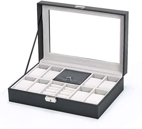 GOVD Caja Relojes Mujer PU Cuero Estuche para Guardar Relojes para Relojes, joyería para Relojes Watch Box with Jewelry Storage: Amazon.es: Hogar
