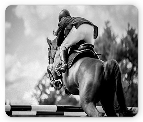 Sportsman Race (Horse Mouse Pad by Lunarable, Equestrian Sports Theme Racehorse and Sportsman Competition Obstacle Hurdle Art, Standard Size Rectangle Non-Slip Rubber Mousepad, Black and Grey)