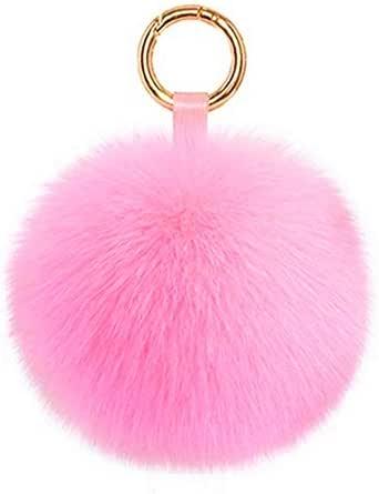 Genuine Fox Fur Pom Pom Keychain Bag Charm Car Purse Charm Fluffy Fur Ball for Car Key Ring Handbag Tote Bag Pendant