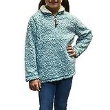 Tween Girls True Grit Frosty Tip 1/4 Zip Pullover in Aqua (Small, Aqua)