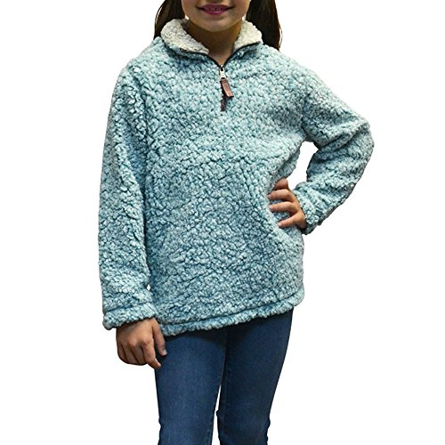 Tween Girls True Grit Frosty Tip 1/4 Zip Pullover in Aqua (Small, Aqua) by True Grit