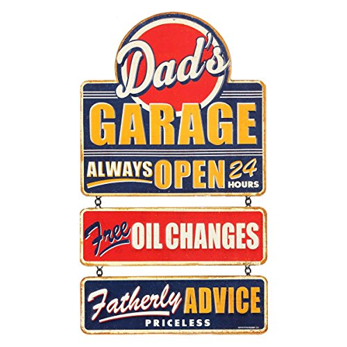 Open Road Brands Dad's Garage Linked Tin - Tin Durable Sign