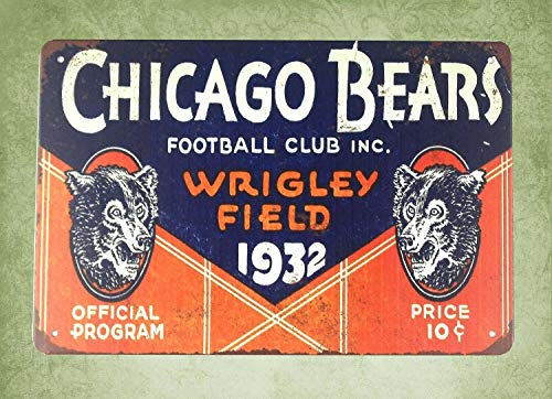 - QDTrade Metal Sign 16 x 12inch - Pub Cafe Wall Chicago Bears Field Football Club 1932 Vintage Look tin Sign Wall Decoration Bar Cafe Home Decor