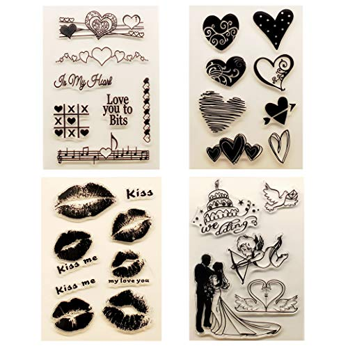 Kwan Crafts 4 Sheets Different Style Wedding Heart Love Clear Stamps for Card Making Decoration and DIY Scrapbooking