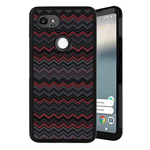 (Case Compatible for Google Pixel 2 XL Red and Black Zigzag Chevron Design with Bold Thin Layers Print Pale Grey Charcoal Grey Scarlet )