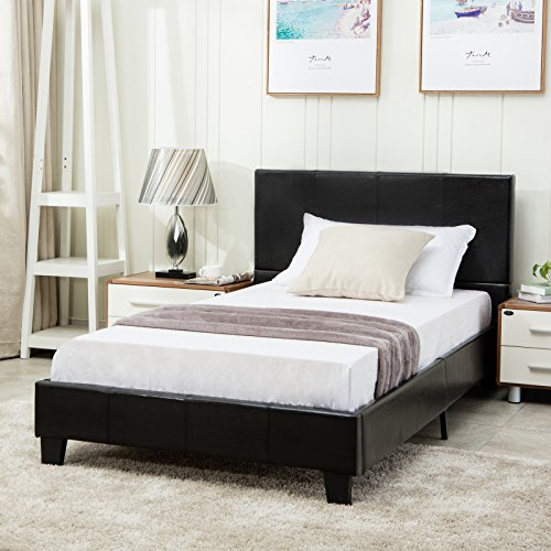 Mecor Faux Leather Bonded Platform Bed Frame/Upholstered Panel Bed Full Size,No Box Spring Needed,for Adults Teens Children,Black Full ()