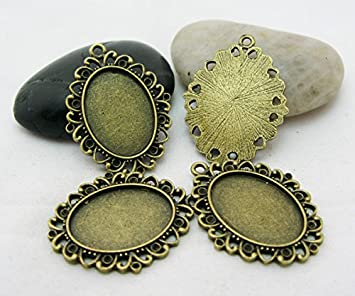 TOAOB 20pcs Lovely Round Shaped Pendant Metal Trays --Antique Bronze-- Pendant Blanks Alloy Cameo Bezel Cabochon Settings 25mm*18mm (#2)