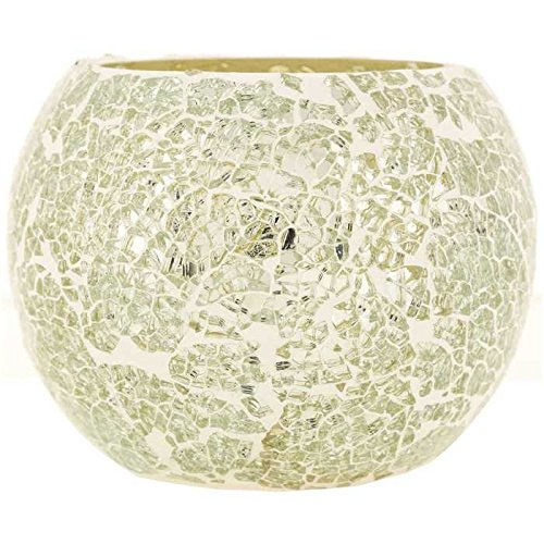 Coconut Grove Galleria Silver White Mosaic Glass Roly Poly Round Bowl Votive Candle Holder 1175611