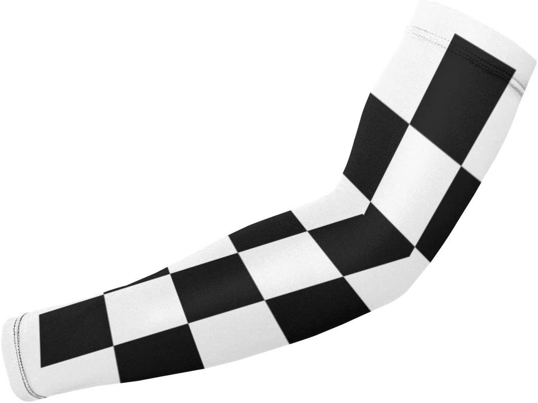GREATN Racing Checkered Flag Sports Compression Arm Sleeves Uv Sun Protection Sleeves Athletic Elbow Support Sleeve 1 Pair for Men Women Basketball Cycling Outdoor Activities