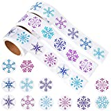 Kuuqa 450 Pieces Snowflake Stickers Christmas Stickers for Christmas Decor Craft Supplies,3 Rolls