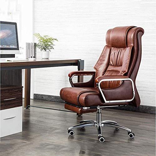 WYKDL Ejecutivo giratoria ajustable silla giratoria de oficina con brazos soporte lumbar ergonomico escritorio silla reclinable Silla ejecutiva ordenador silla de la PU cuero de la oficina Silla Silla