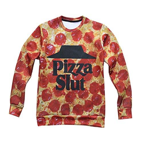 Unisex hipster funny food Pizza Slut 3D Sweatshirt Pullover Hoodie T Shirt (S)
