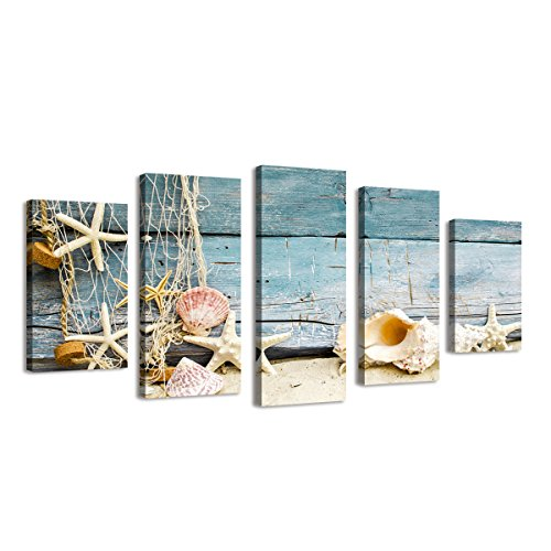 BIL-YOPIN Large Size Stretched Canvas Prints 5 Panels Shells Seascape Giclee Canvas Prints Wall Art for Bedroom