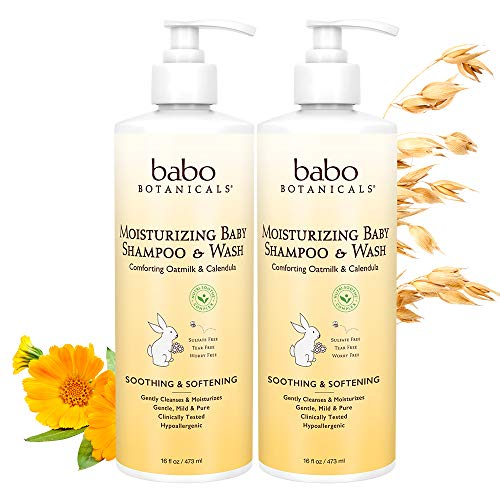 (Babo Botanicals Babo Botanicals Moisturizing Baby Shampoo and Wash, Oatmilk Calendula, Pack of 2, 16 Fl)