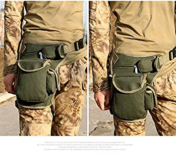 Riding Canvas Waist Pack Tactical Thigh Drop Leg Bag Adjustable Strap Waist Packs for Outdoor Camping Motorcycle Riding Fishing