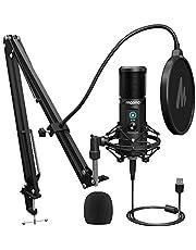 Micrófono USB MAONO 192KHZ/24BIT profesional cardioide micrófono condensador con botón de silencio táctil y perilla de ganancia de micrófono para grabación, podcasting, juegos, YouTube