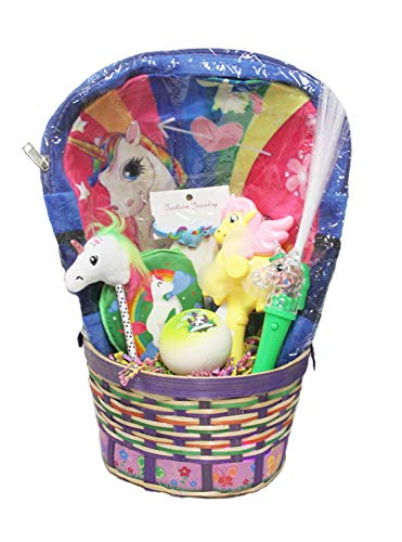 OBI Unicorn Themed Easter Basket Filled with Novelty Toys and Fashion Accessories Gifts for Kids Girls (Blue) ()