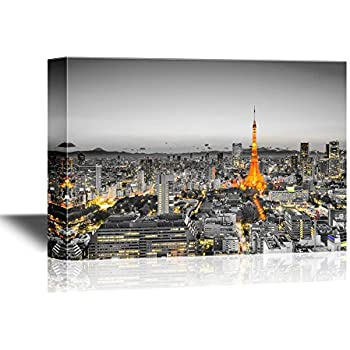 wall26 - Canvas Wall Art - Tokyo, Japan Skyline at Tokyo Tower - Gallery Wrap Modern Home Decor | Ready to Hang - 24x36 inches