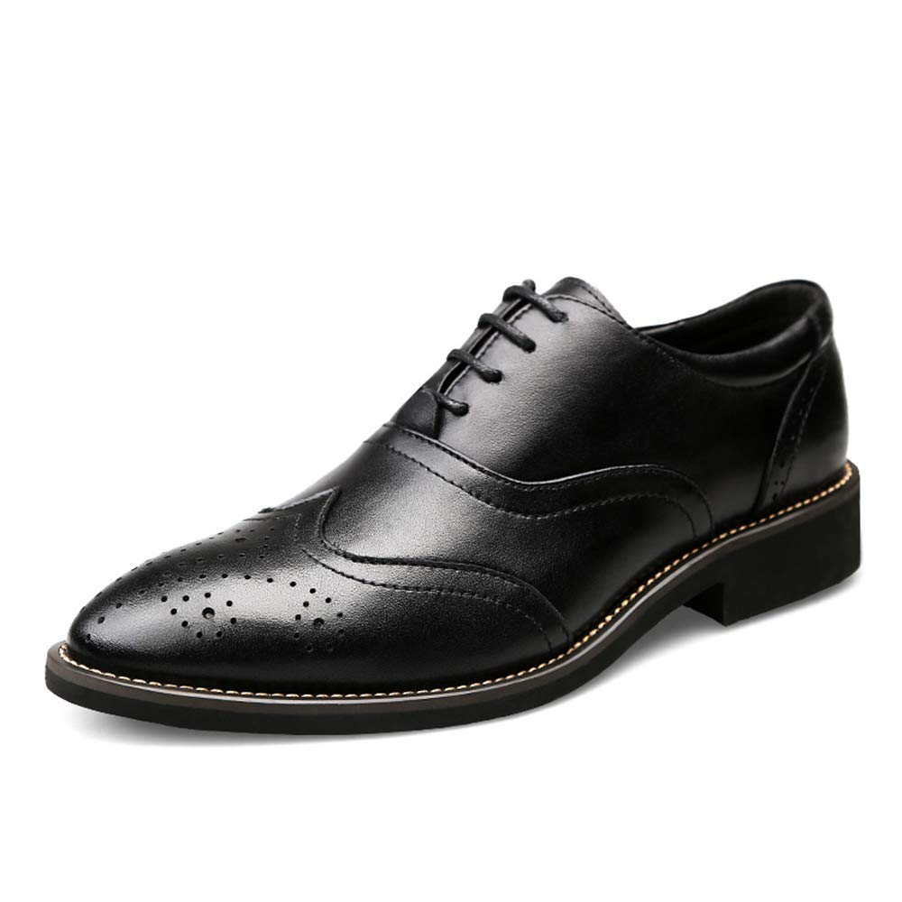 Hilotu Mens Fashion Wingtip Carved Breathable Brogue Shoes Faux Leather Lace Up Dress Shoes