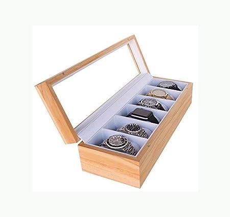 Watch-HLH Organizador de Caja de Reloj de Madera de luz Ligera con Caja de Almacenamiento de Reloj Superior con Pantalla de Vidrio: Amazon.es: Hogar