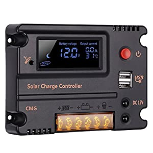 5181wLfG8SL. SS300  - GHB 20A 12V 24V Solar Charge Controller Auto Switch LCD Intelligent Panel Battery Regulator Charge Controller Overload Protection Temperature Compensation