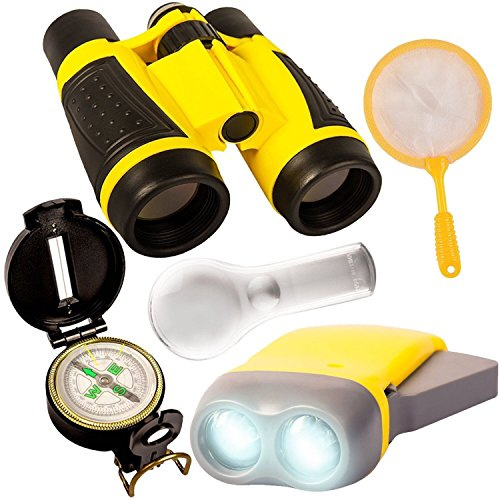 Outdoor Set for Kids – Binocular, LED Flashlight, Compass, Magnifying Glass & Butterfly Net, Explorer Toys Kit for Playing Outside, Camping, Bird Watching, Hiking. Educational Gift for Children
