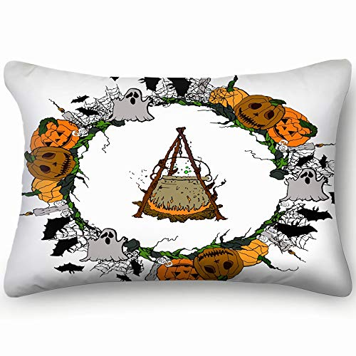 best bags Halloween Pumpkin Spider Web Candles Skull Background Objects Skin Cool Super Soft and Luxury Pillow Cases Covers Sofa Bed Throw Pillow Cover with Envelope Closure 1624 Inch]()