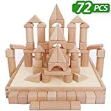 Kids Building Blocks Toys Set, 72 PCS Wood Blocks, Natural Wooden Stacking Cubes, Structure Tile Games, Educational and Activity Toy for Age 2, 3, 4, 5 Year Olds Up, Children, Toddlers - iPlay, iLearn