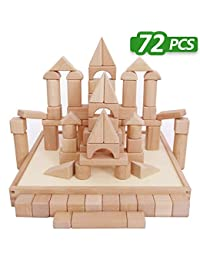 Kids Building Blocks Toys Set, 72 PCS Wood Blocks, Natural Wooden Stacking Cubes, Structure Tile Games, Educational and Activity Toy for Age 2, 3, 4, 5 Year Olds Up, Children, Toddlers - iPlay, iLearn BOBEBE Online Baby Store From New York to Miami and Los Angeles
