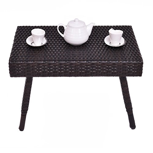 Tangkula Outdoor Wicker Table Folding Patio Pool Standing