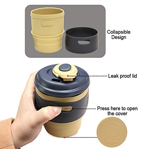 Collapsible Coffee Mug, XREXS Food-Grade Silico...