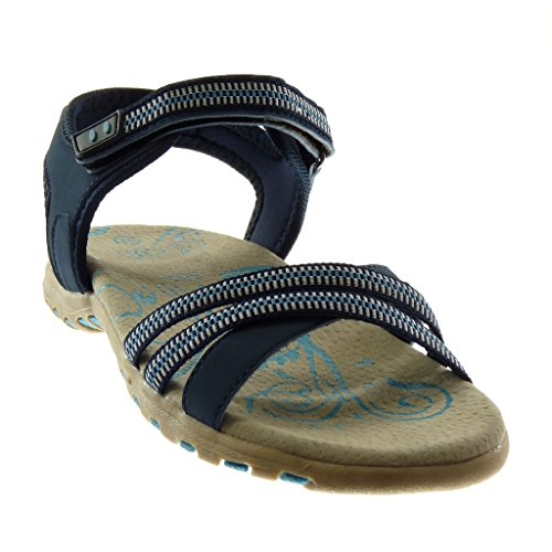 Angkorly Damen Schuhe Sandalen - Knöchelriemen - Sneaker Sohle - Bicolor - Multi-Zaum Flache Ferse 2.5 cm Dunkelblau