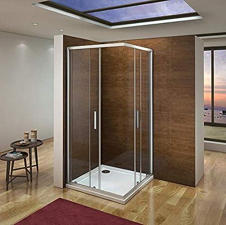 Mampara de Ducha Angular cabina de ducha mampara de ducha cuadrada Puerta Corredera Cristal 5 MM perfilería gris mate 100x80x185cm: Amazon.es: Bricolaje y herramientas
